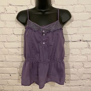 Purple Tank Top with Button Front